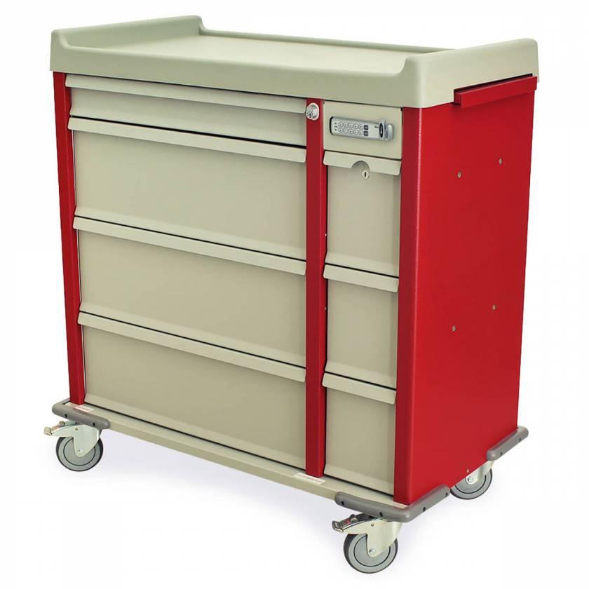 Harloff AL600EPC OptimAL Line Aluminum 600 Punch Card Medication Cart with Basic Electronic Lock, Single Wide Narcotics Drawer