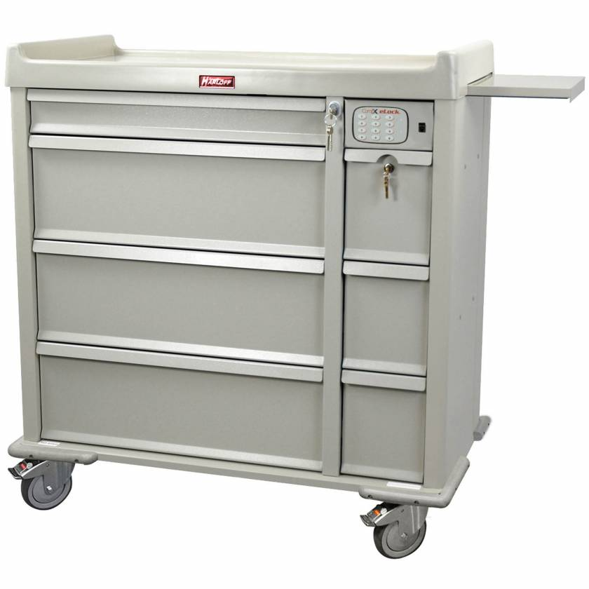 Harloff AL600PC-EKC OptimAL Line Aluminum 600 Punch Card Medication Cart with CompX Electronic Lock, Single Wide Narcotics Drawer