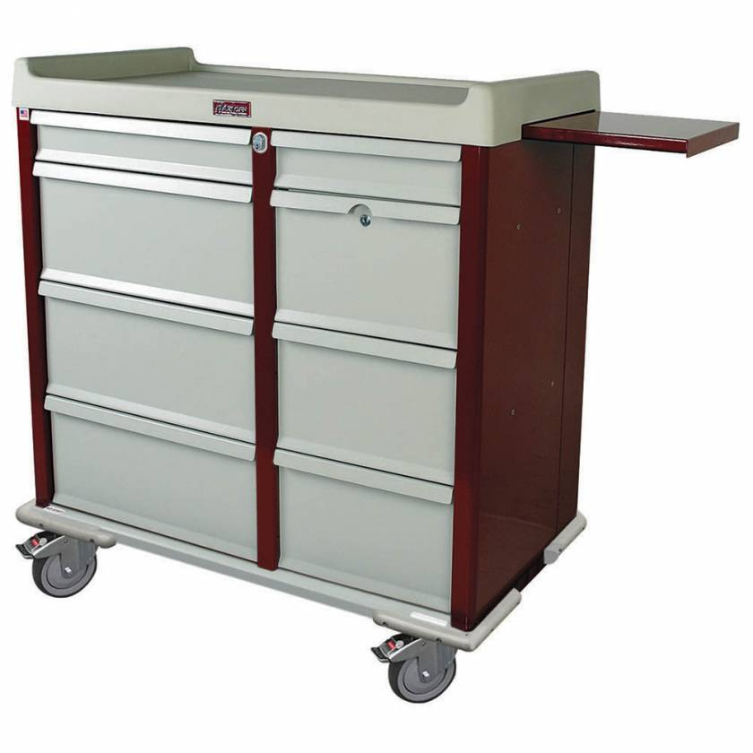 Harloff AL602PC OptimAL Line Aluminum 600 Punch Card Medication Cart with Key Locks, Double Wide Narcotics Drawer