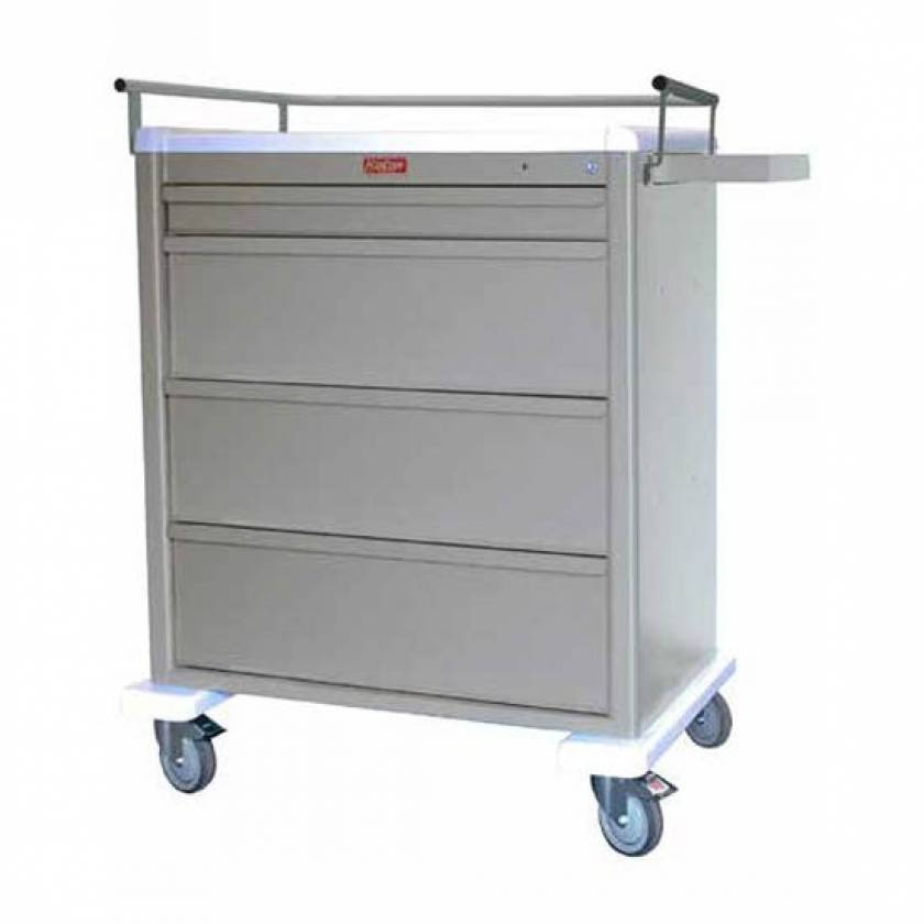 Harloff AL8W10K4MOT Aluminum Universal Line MOT® Compatible Medication Cart with Key Lock