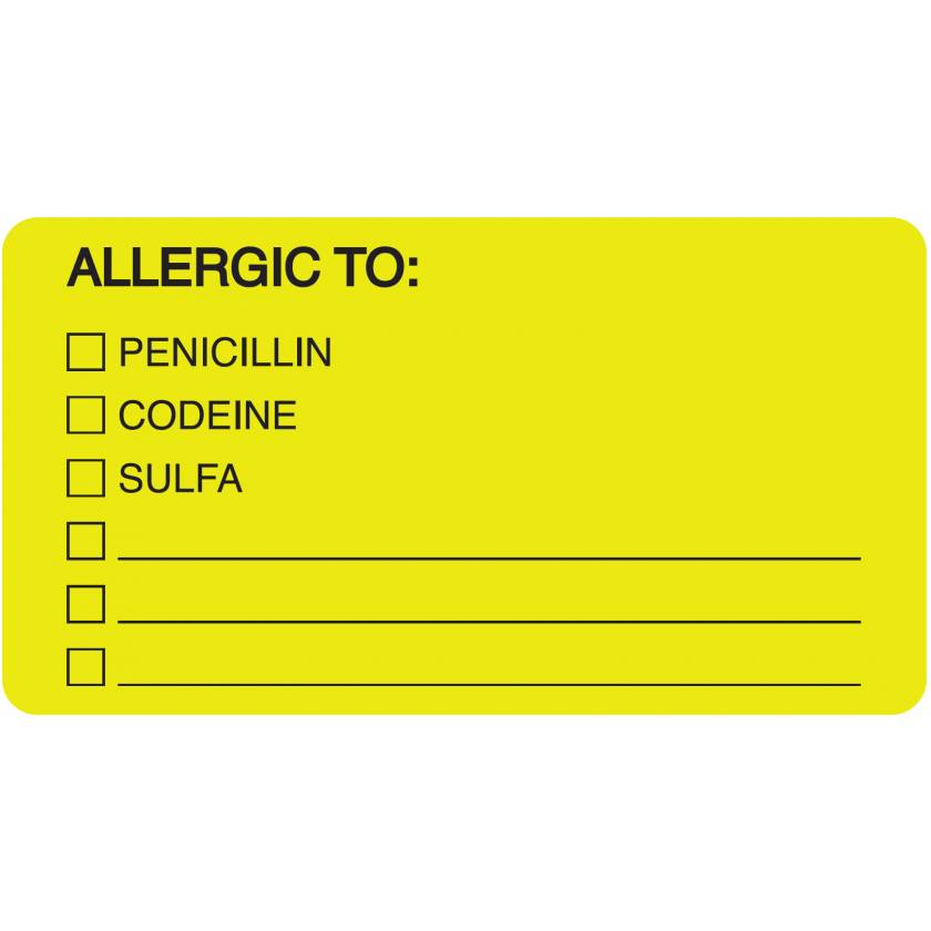 "ALLERGIC TO Label - Size 3 1/4""W x 1 3/4""H - Fluorescent Chartreuse - Box of 500"
