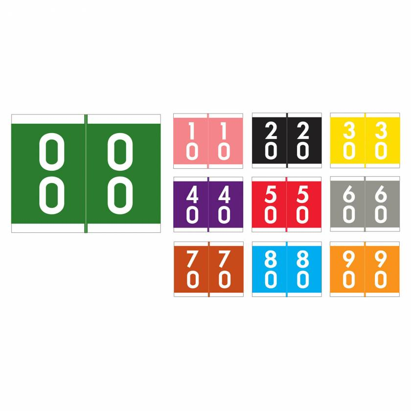 "Barkley FDAVM Match AVDM Series Double Digit Numeric Color Code Roll Labels - 1 3/16""H x 1 1/2""W"