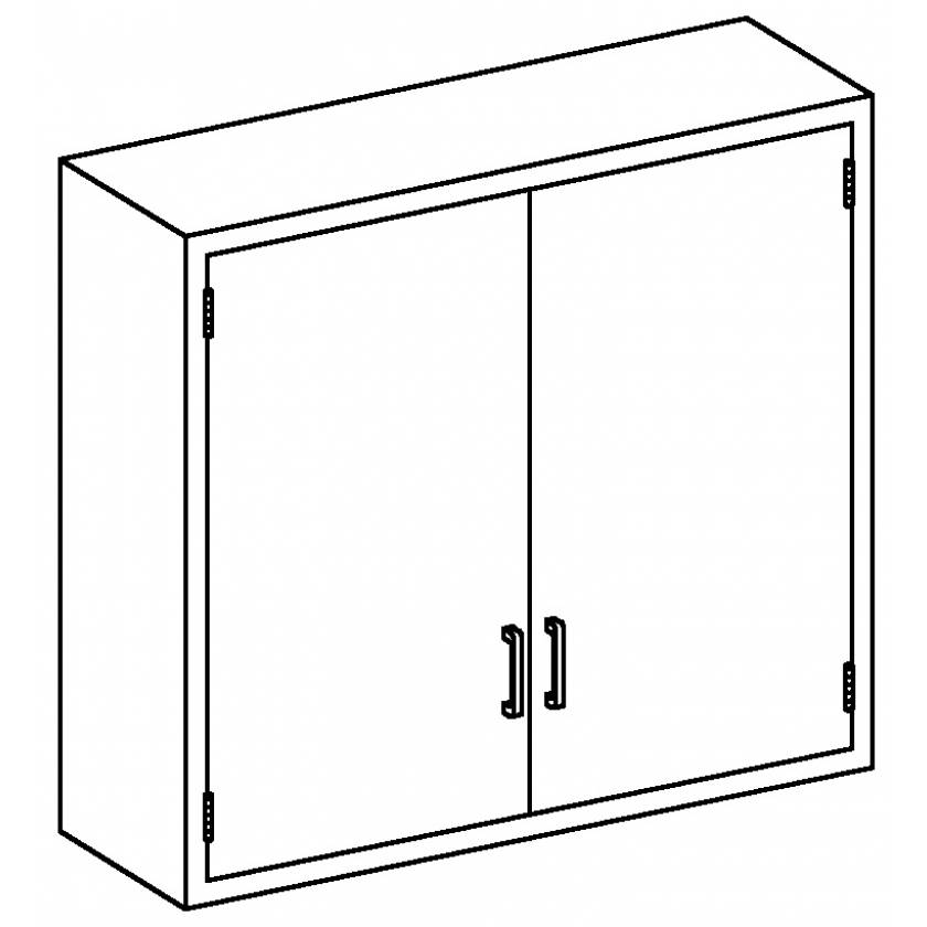 Stainless Steel Wall Cabinet with Double Solid Hinged Doors