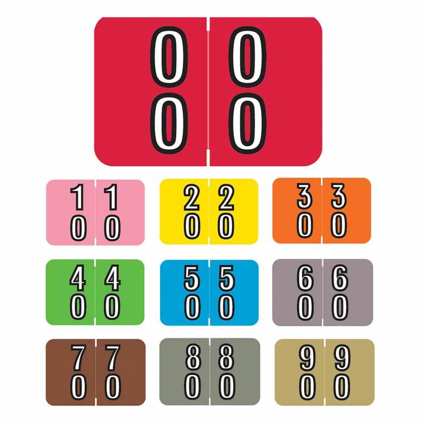 "Barkley FDBKM Match BADM Series Double Digit Numeric Color Code Roll Labels - 1""H x 1 1/2""W"