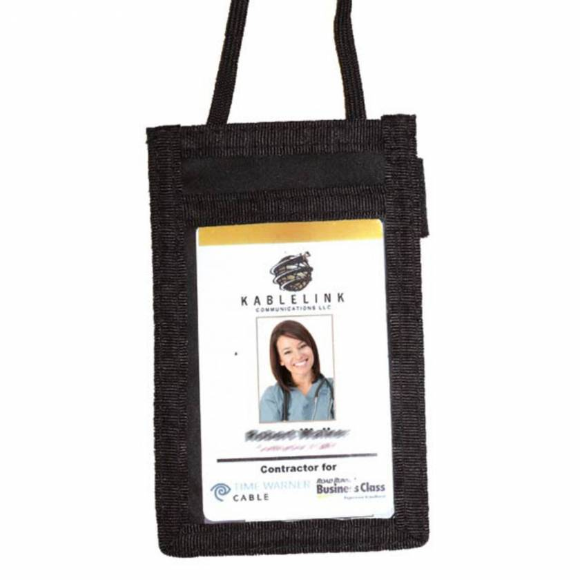 Vertical Badge Holder Pouch on Lanyard