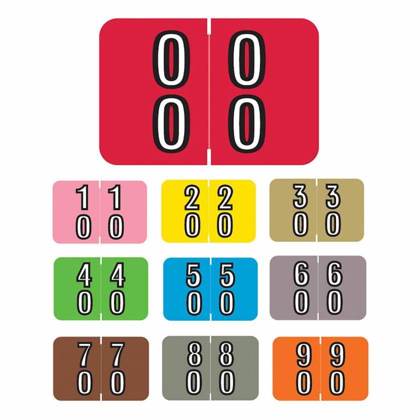 "Barkley FDDBM Match BXDM Series Double Digit Numeric Color Code Roll Labels - 1""H x 1 1/2""W"