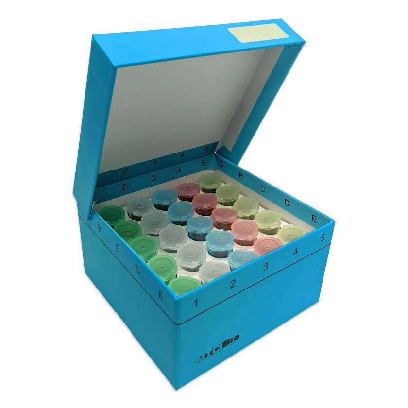 MTC Bio C2580-25 Cardboard Freezer Box with Hinged Lid for 25 Snap-Cap 5mL MarcoTubes