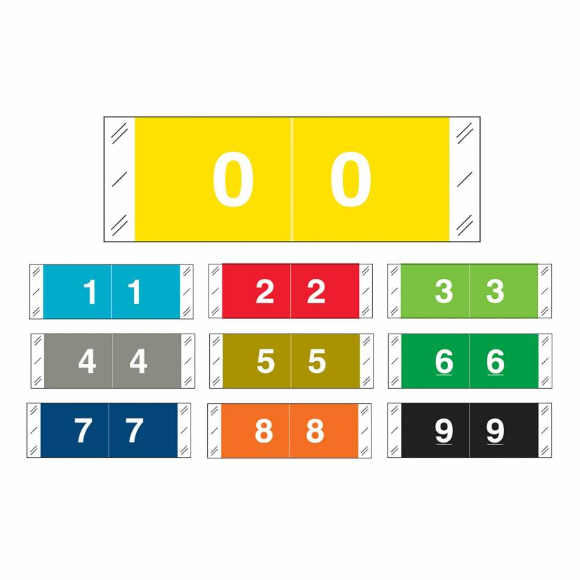 """Tabbies 11850 Match CBNM Series Numeric Roll Labels with Skirt - 1/2""""H x 1 1/2""""W"""