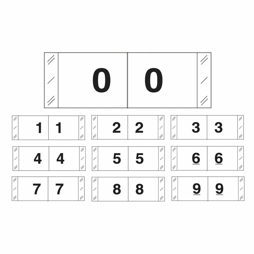 """Tabbies 11830 Match CBWM Series Numeric Roll Labels with Skirt - 1/2"""" H x 1 1/2"""" W"""