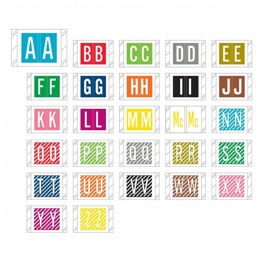 "Tabbies 12000 Match CRAM Series Alpha Roll Labels - 1""H x 1 1/2""W"