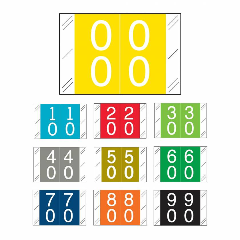 """Tabbies 11200 Match CRDM Series Double Digit Numeric Roll Labels with Skirt - 1""""H x 1 1/2""""W"""