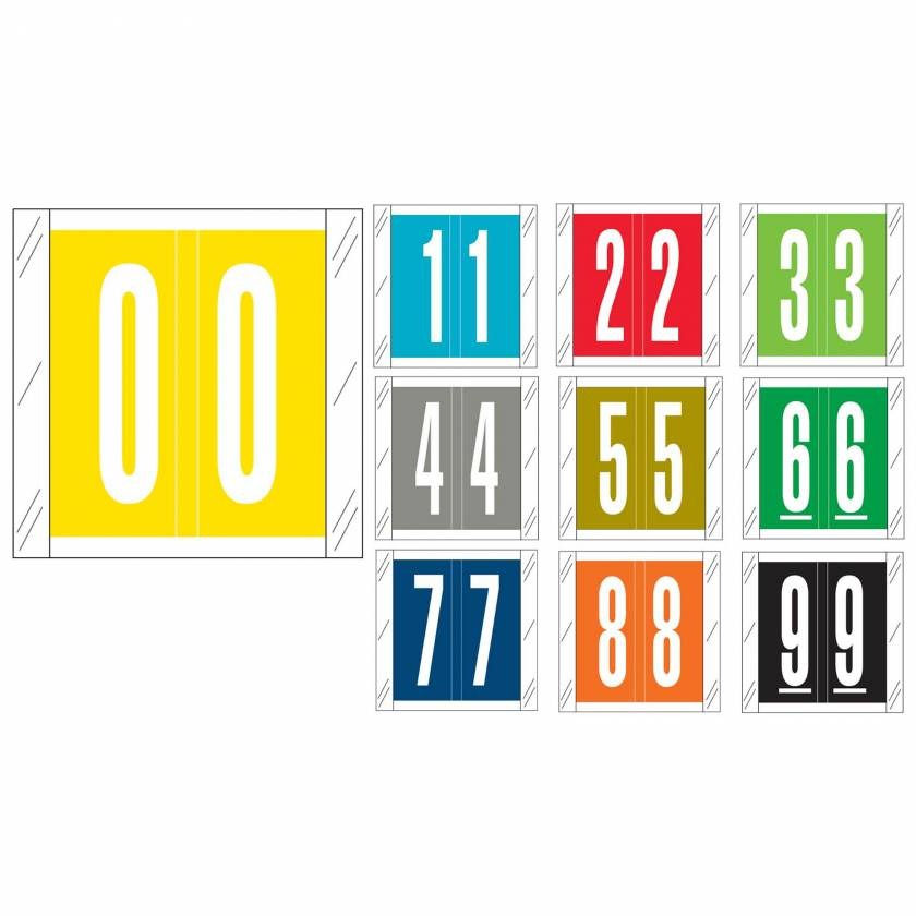 """Barkley FNSRM Match CSNM Series Numeric Color Code Roll Labels with Skirt - 1 1/2""""H x 1 1/2""""W"""