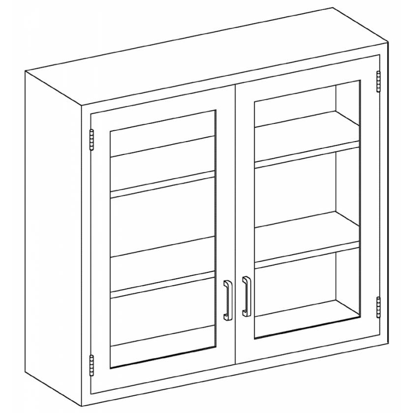Stainless Steel Wall Cabinet with Double Glazed Hinged Doors