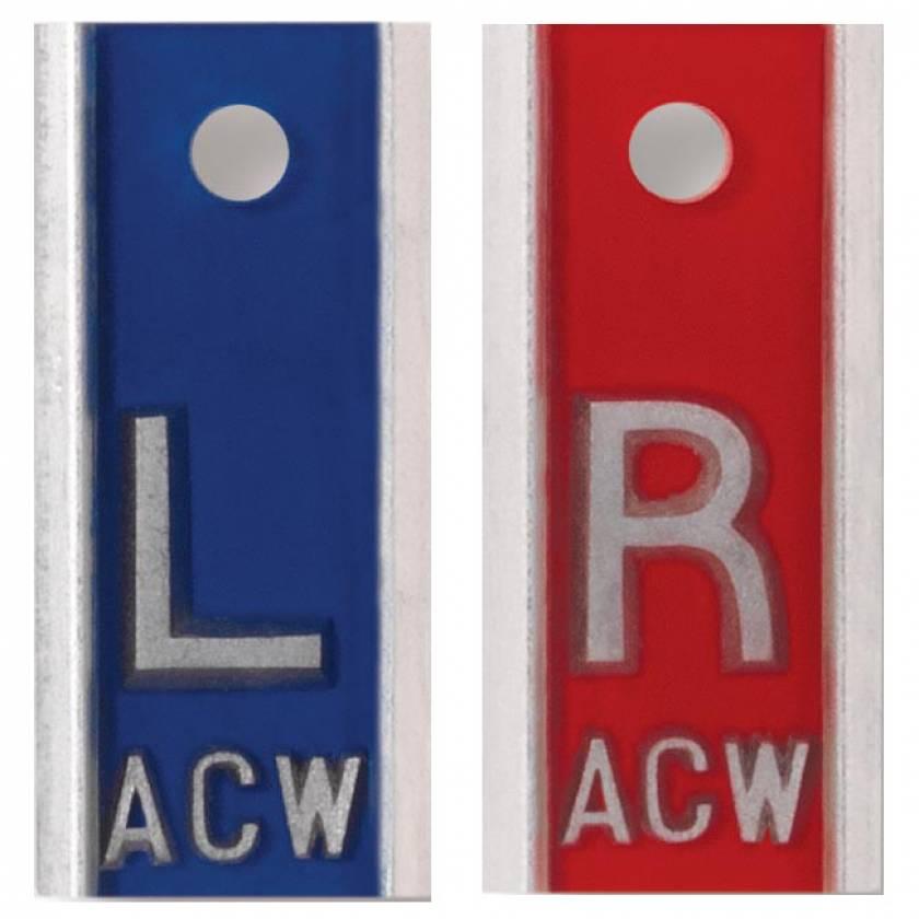 "Aluminum Markers - 1/2"" L & R - With Initials"
