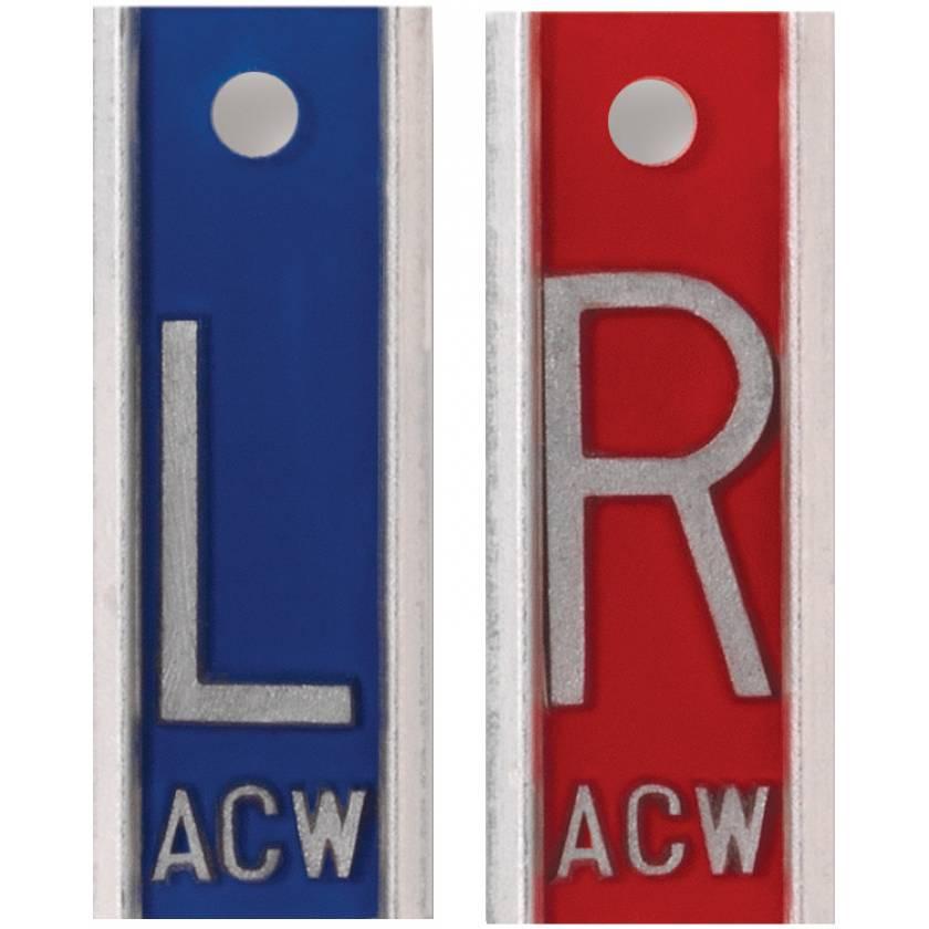 "Aluminum Markers - 1"" L & R - With Initials"