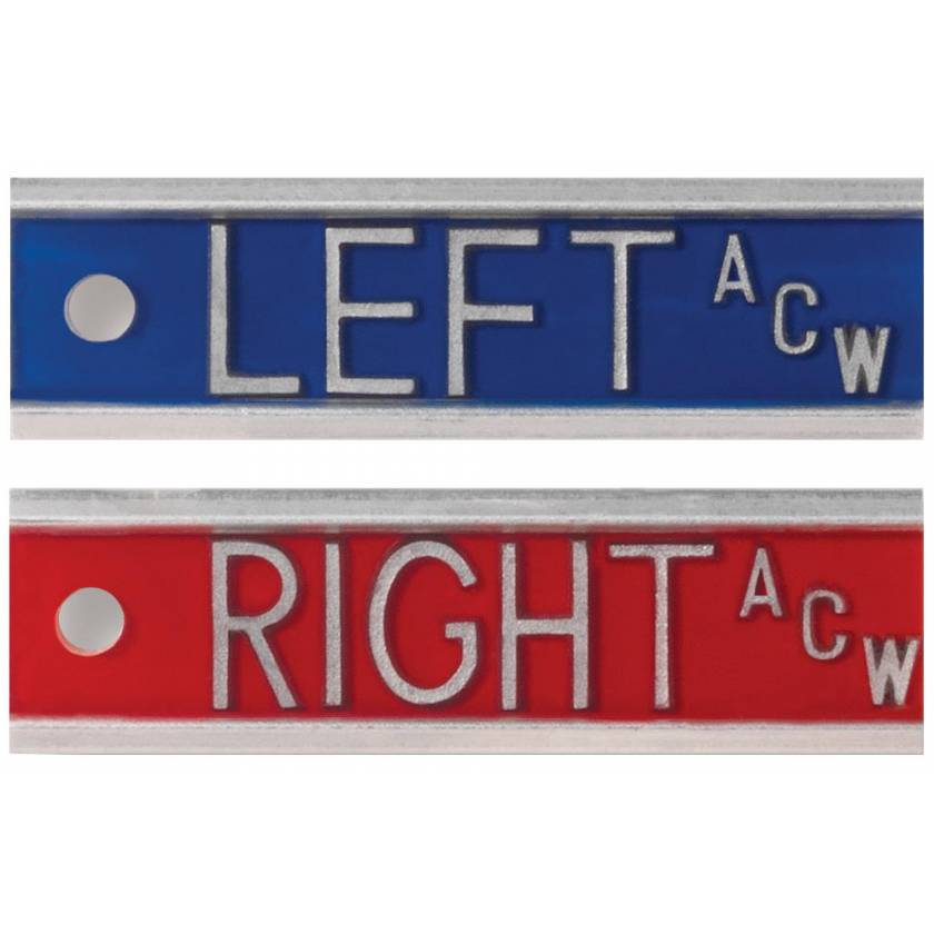 "Aluminum Markers - 1/2"" Left & Right - With Initials"