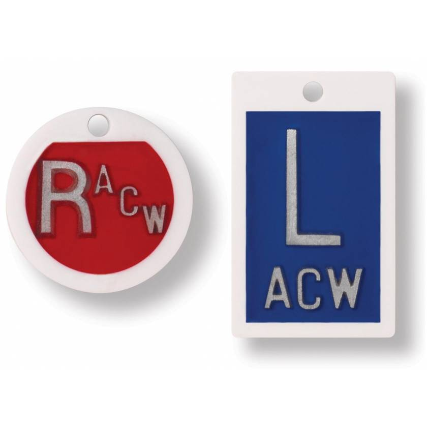 "Plastic Markers - Square ""L"" & Round ""R"" With Initials"