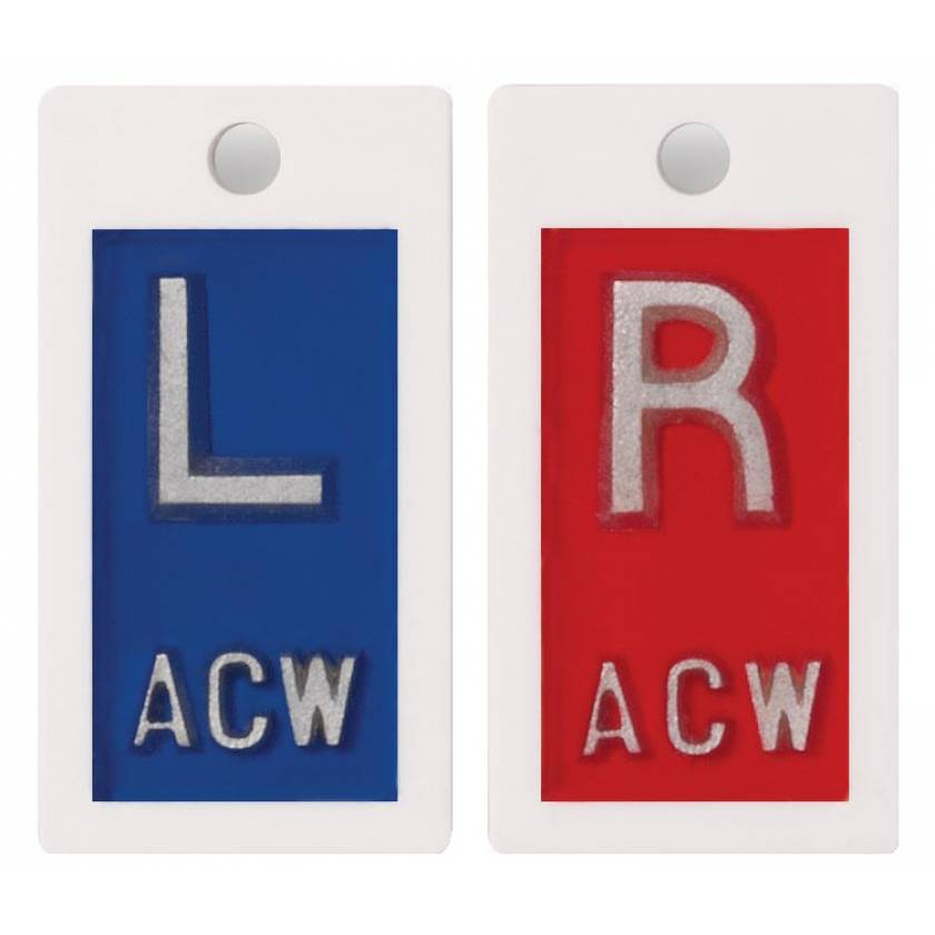 """Plastic Markers - 1/2"""" """"L"""" & """"R"""" With Initials"""
