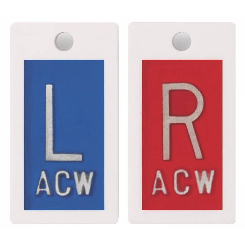 """Embedded Plastic Markers - 5/8"""" """"L"""" & """"R"""" Lead-Free 1 to 3 Initials"""