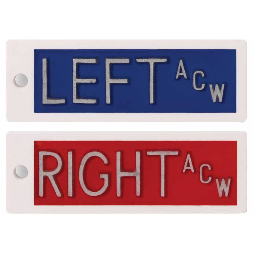 "Plastic Markers - 1/2"" Left & Right With Initials"