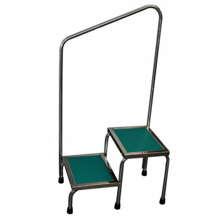 MRI Non-Magnetic Narrow Double Step Stool with Handrail