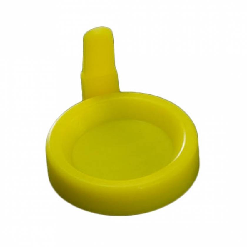 Snap Cap with Sanitary Grip for 12mL Flared Top Urine Centrifuge Tube - Polyethylene (PE) - Yellow