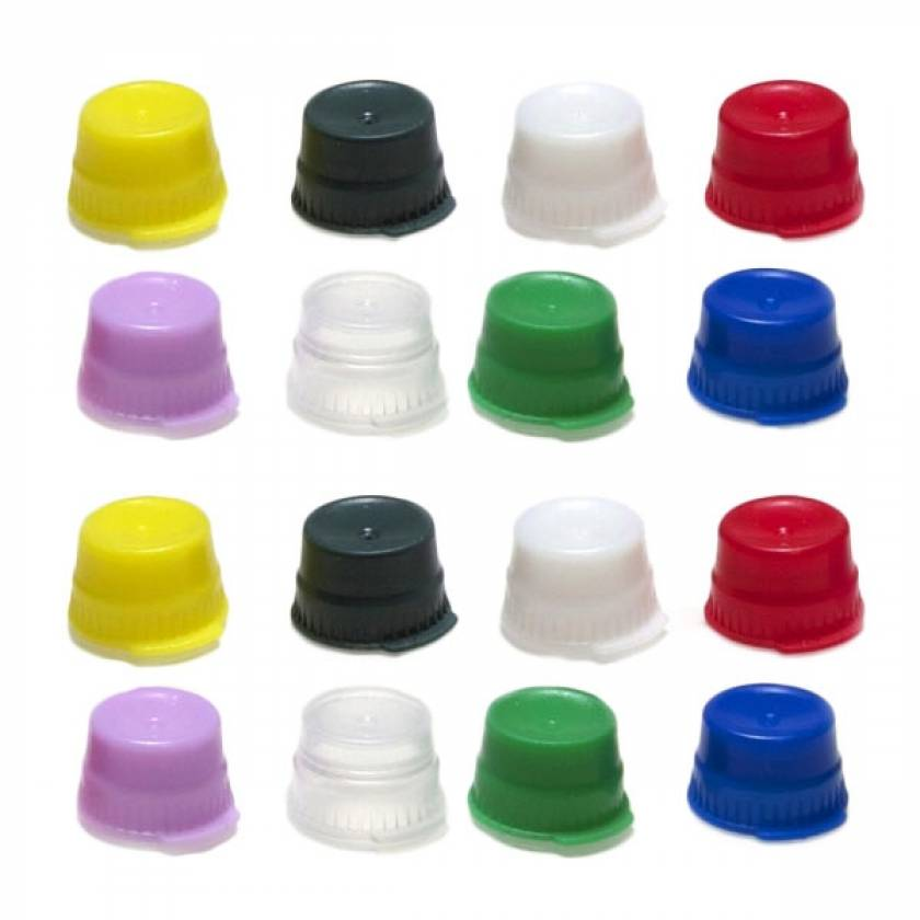 13mm Snap Caps for 13mm Glass and Evacuated Tubes and 12mm Plastic Test Tubes - Polyethylene - Single Thumb Tab