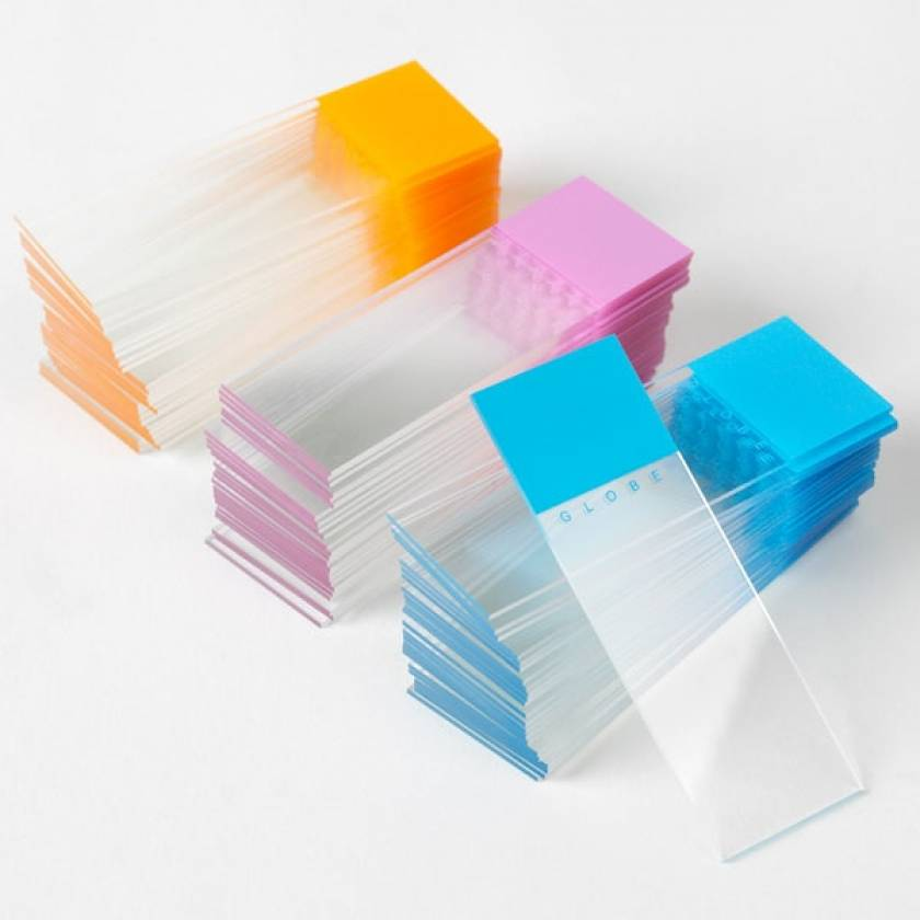 Microscope Slides - Diamond White Glass - Frosted Color Coded 1 End 1 Side - 90° Ground Edges 90°Corners - 25mm x 75mm
