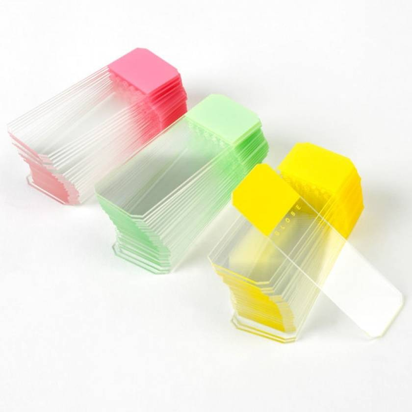 Microscope Slides - Diamond White Glass - Frosted Color Coded - 45° Beveled Edges Clipped Corners