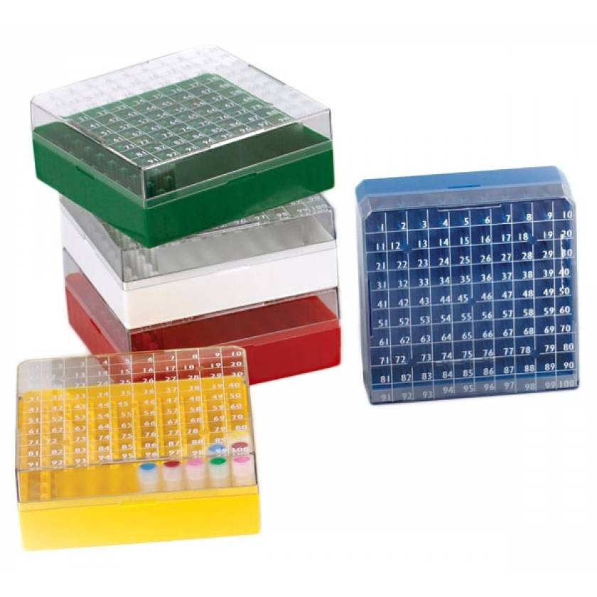 BioBox Storage Box with Transparent Lid for 1.0mL and 2.0mL CryoClear Vials - 100-Place