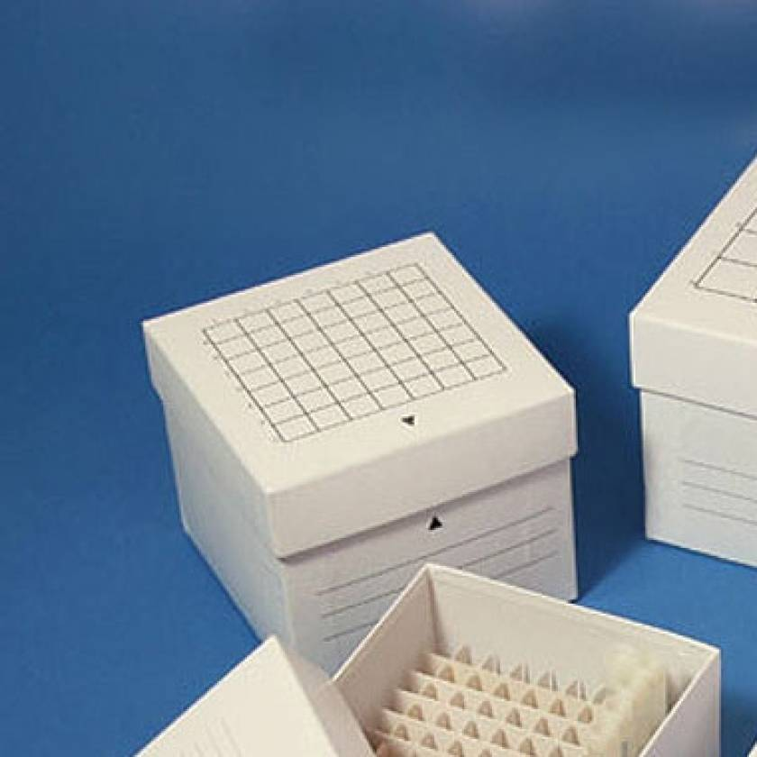 Cardboard Freezer Storage Box for 15mL Centrifuge Tubes - 49-Place (7x7 Format) - White
