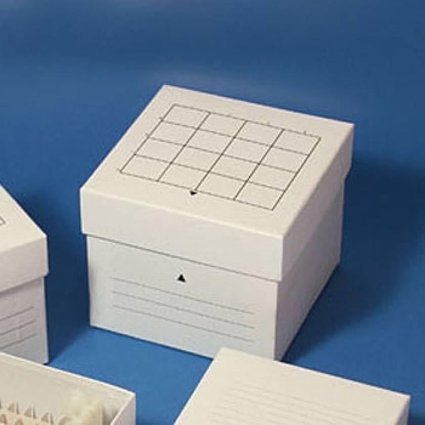Cardboard Freezer Storage Box for 50mL Centrifuge Tubes - 16-Place (4x4 Format) - White