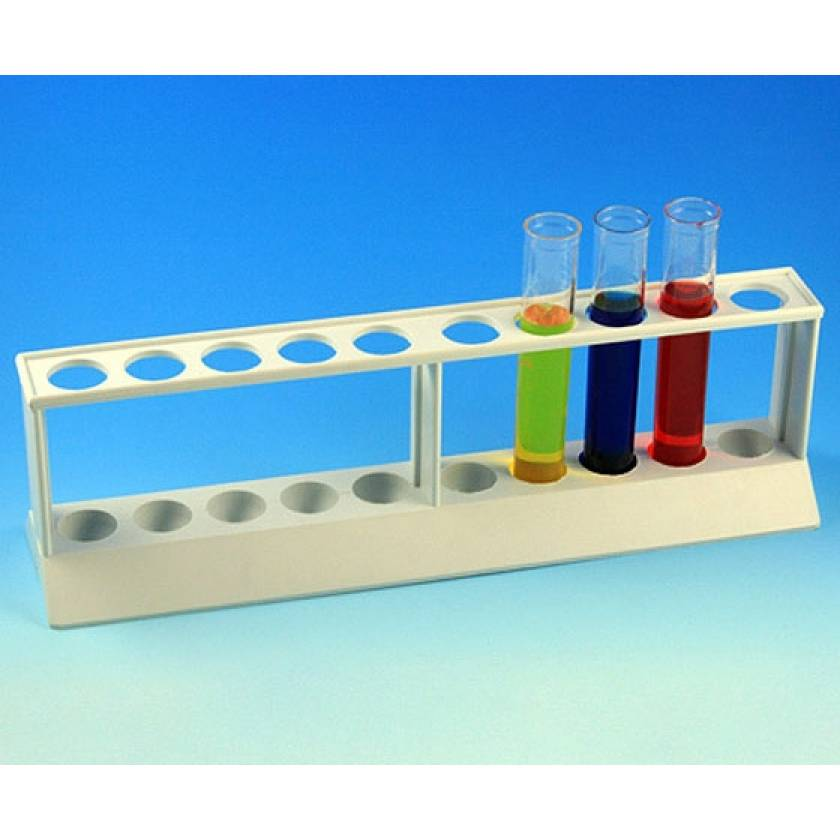 10-Place Tube Rack for 16mm/17mm Tubes - Polypropylene - White