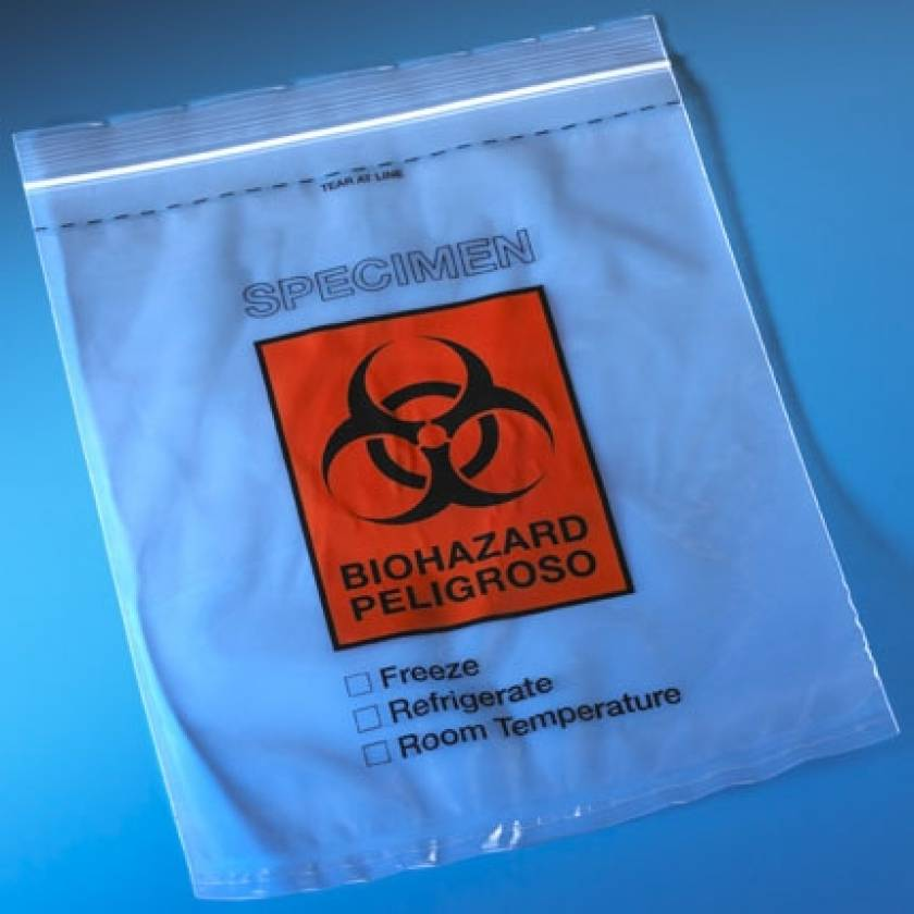 "Biohazard Specimen Transport Bags 8"" x 10"" - Ziplock with Score Line and Document Pouch"