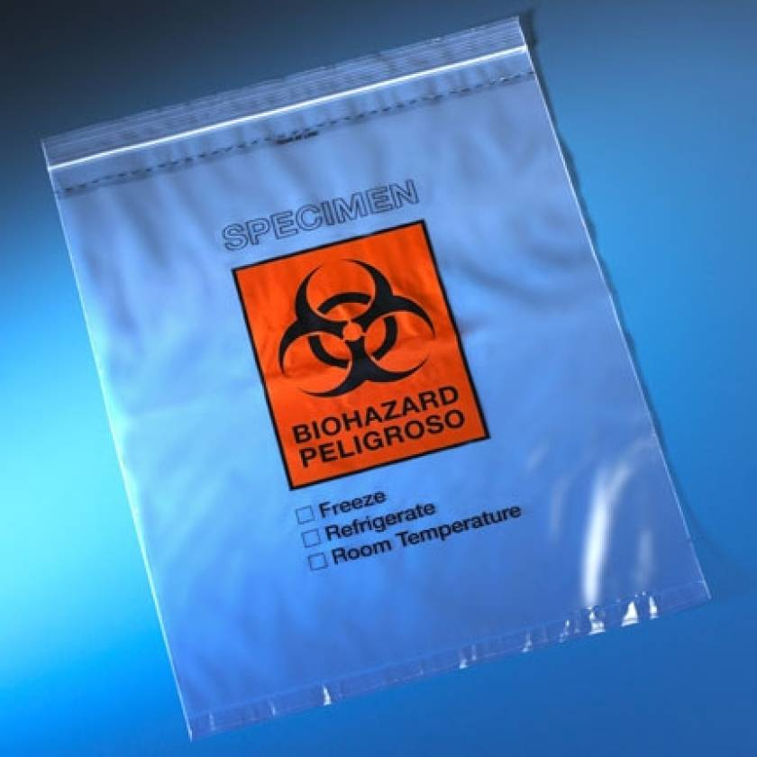 "Biohazard Specimen Transport Bag 12"" x 15"" - Ziplock with Score Line and Document Pouch"