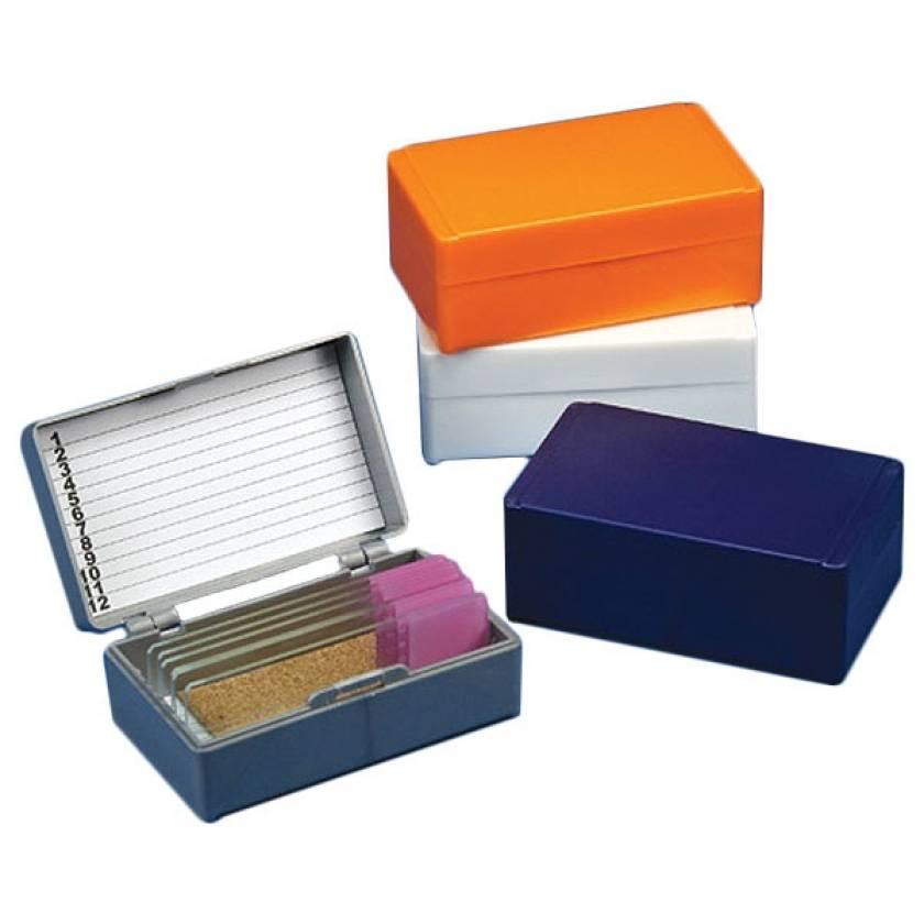 Slide Storage Box for 12 Microscope Slides - Cork Lined