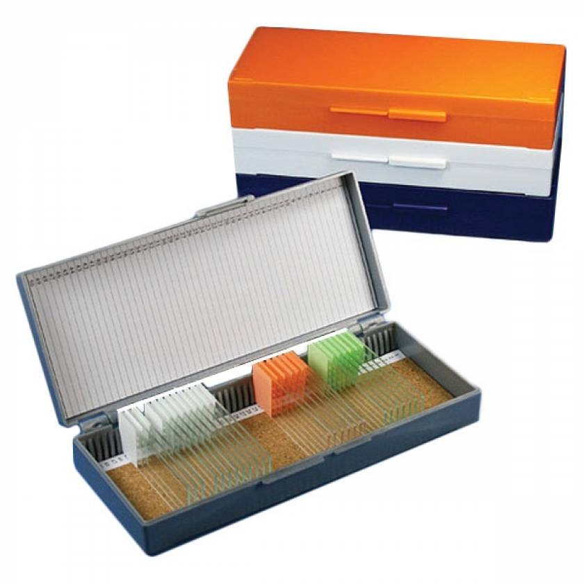 Slide Storage Box for 50 Microscope Slides - Cork Lined