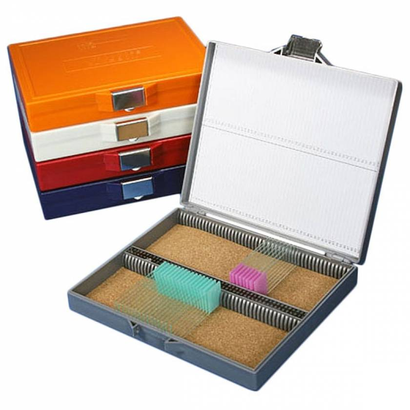 Slide Storage Box for 100 Microscope Slides - Cork Lined - Stainless Steel Lock