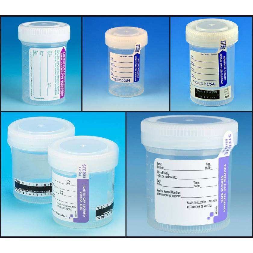 90mL (3oz) Tite-Rite Containers with Attached Screw Caps and ID Labels