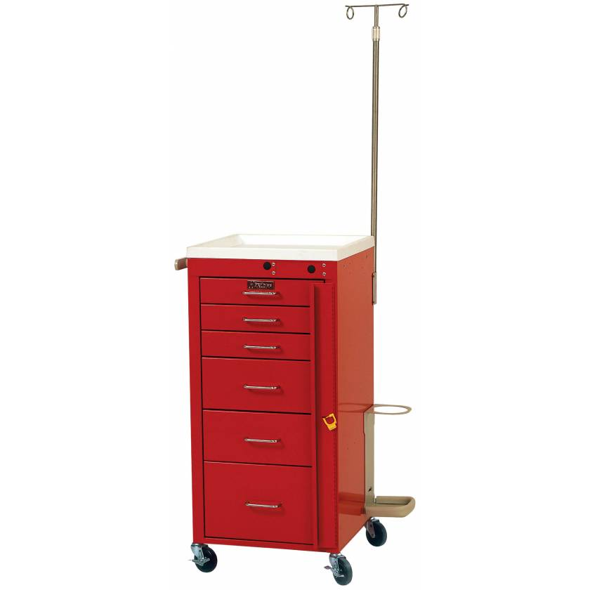 Mini Line Emergency Cart Tall Six Drawer - Specialty Accessory Package with Breakaway Lock