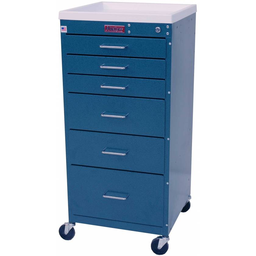 Mini Line Anesthesia Cart Six Drawer - Standard Package with Key Lock