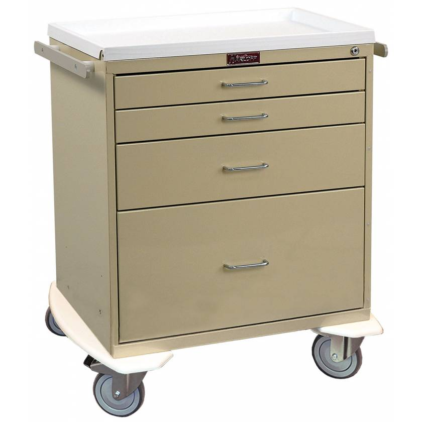 Classic Line Anesthesia Workstation Short Four Drawer - Standard Package with Key Lock