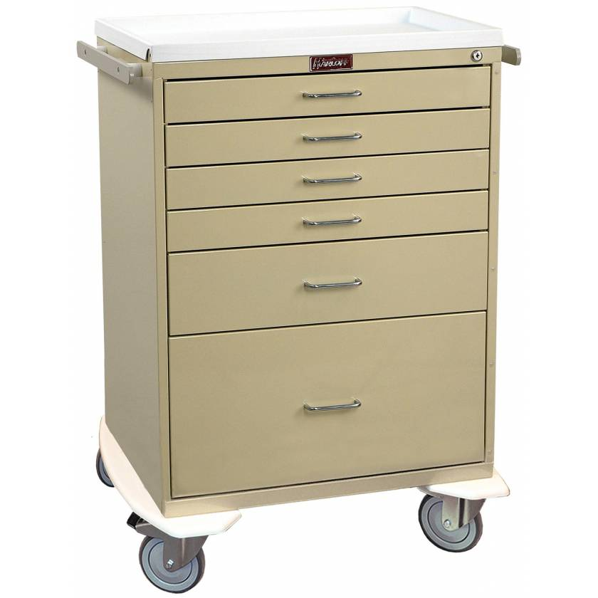 Classic Line Anesthesia Workstation Tall Six Drawer - Standard Package with Key Lock