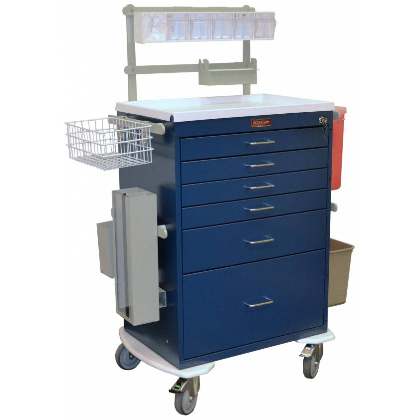 Classic Line Anesthesia Workstation Tall Six Drawer - Deluxe Package with Key Lock