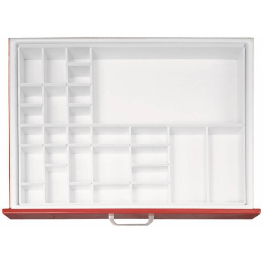 """Full Drawer Tray with Fixed Divider for Classic & Universal Line Carts 3"""" Drawers - Matrix #4"""