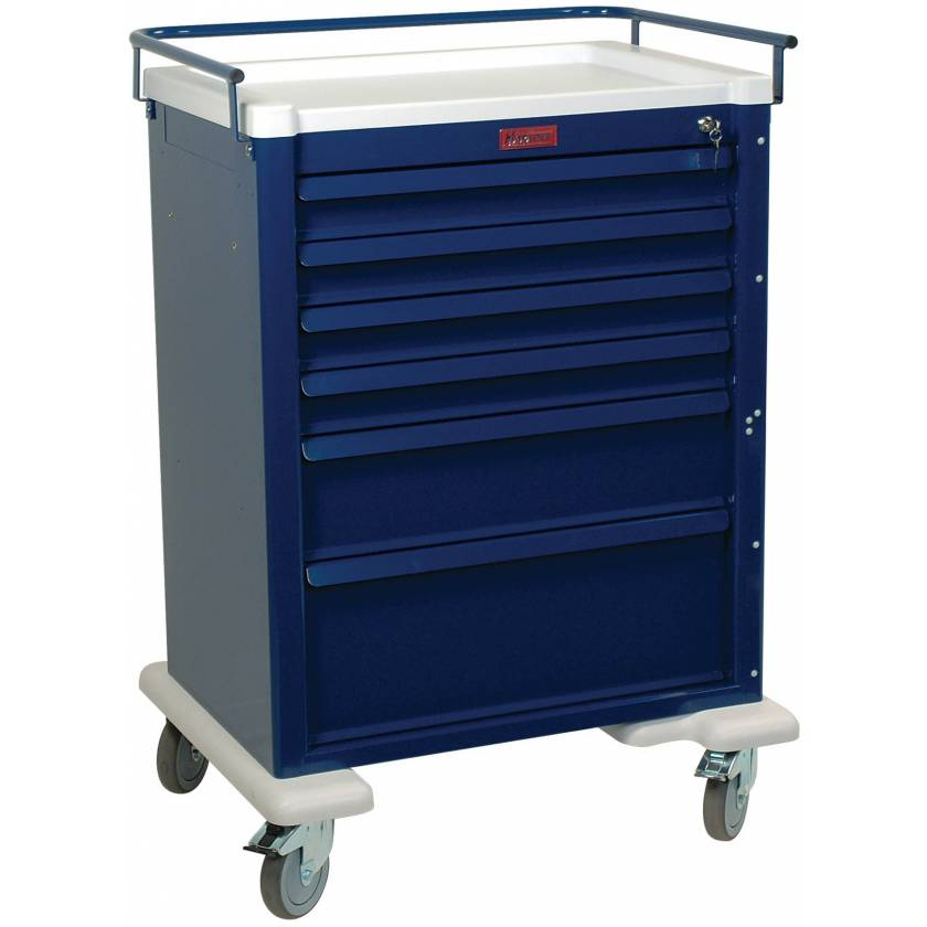 Universal Line Aluminum Anesthesia Workstation Six Drawer - Standard Package with Key Lock