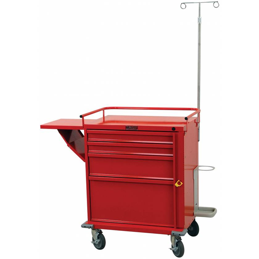 Harloff V24-4EMG V-Series Emergency Cart Four Drawer with Breakaway Lock, Accessory Package