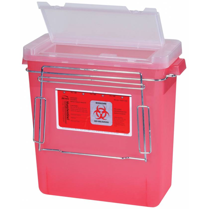 3 Gal. Bemis Sharps Container with Wire Holder and Mounting Bracket for V-Series Carts