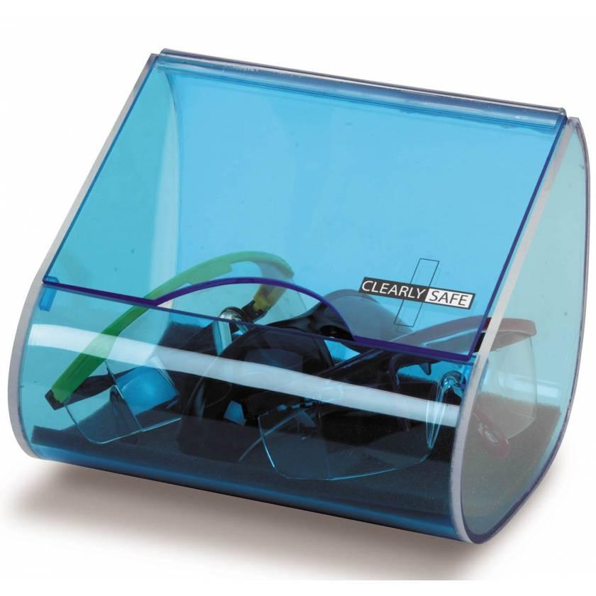 "Clearly Safe Acrylic Safety Eyeglass Dispenser - Blue - 8.9"" L x 6.4"" W x 6.1"" H"