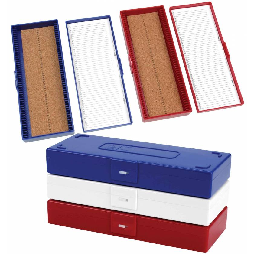 50-Place Cork-Lined Microscope Slide Boxes